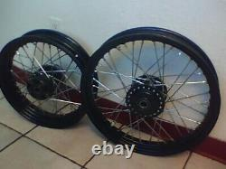 2008-up Harley Sportster Wheel Set 16 and 19 Powder Coated Black w Chrome Spokes