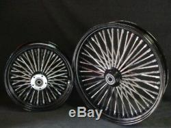 21x2.15 & 18x8.5 Dna Mammoth 52 Spoke Black Powder Coated Wheel Set For Harley