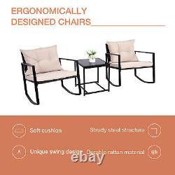 3Pcs Patio Rocking Chair Table Outdoor Rattan Wicker Rocker Garden Furniture Set