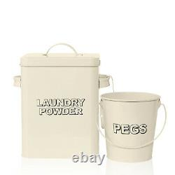 3pc Cream Storage Container Set Laundry Detergent Box with Scoop and Pegs Bucket