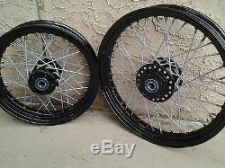 40 Spoke 16 & 19 Sportster Nightster Custom Wheel Set Powder Coated