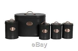 5pc-Kitchen Set Bread Bin Tea Coffee Sugar Biscuit Tins, Barrel Sealed Containers