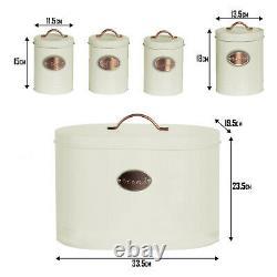 5pc Kitchen Storage Container Set Bread Bin + Tea Sugar Coffee Biscuit Tins