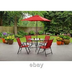 6 Piece Outdoor Patio Dining Furniture Set With Umbrella Red Garden Table Chairs