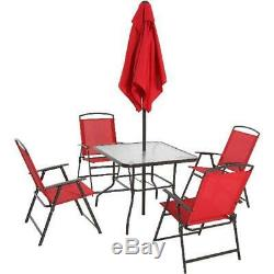 6 Piece Patio Dining Set with Umbrella Outdoor Table Chairs Garden Furniture Red