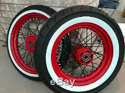 84-99 Harley Softail Dyna Wide Glide Wheel Set 16 & 21 Red Powder Coated w Tires
