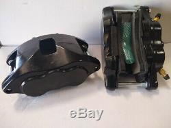 Black D52 Aluminum Brake Calipers & Pad Set 68-96 GM 1.040 Front Rotors