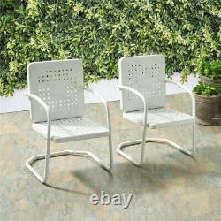Crosley Bates Metal Patio Chair in White (Set of 2)