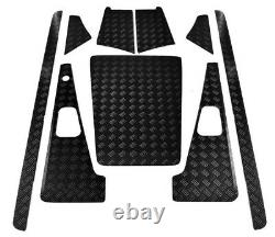 Defender 110 Set with Aerial hole 2mm Chequer Plate Powder coated Black 5 door