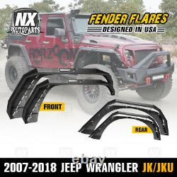 Front & Rear Fender Flares for 2007-2018 Jeep Wrangler JK JKU Duty Steel 4PC Set