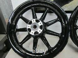 Harley OEM Mag Set Front Rear Wheel 9 Spoke Touring OEM 16x3 Black Powder Coat