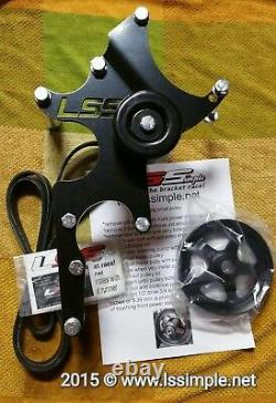 LS engine swap accessory relocation Bracket Kit small metal pulley set up