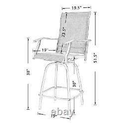 Outdoor Swivel Bar Stools Patio High Chairs with Sling Seat Set of Two