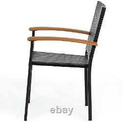 Patiojoy Set of 4 Outdoor Patio PE Rattan Dining Chairs Armrest Stackable Garden