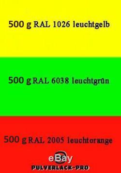 Pulverlack RAL Starterset Leuchtfarben 1,5kg Beschichtungspulver Powder Coating