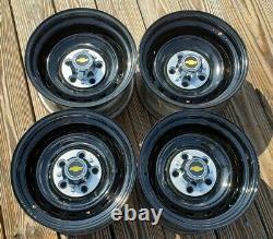 Set 4 70s 80s 90s CHEVY GMC TRUCK 15 X8 GM RALLY Wheels Rims Powder-coated Black