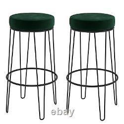 Set of 2 Dark Green Velvet Hairpin Bar Stools 73cm Tara