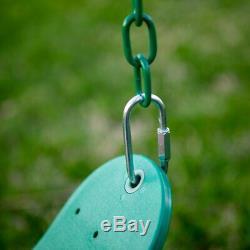 Swing Set Metal Powder Coated Steel Backyard Outdoor With Web Disc Kids Play