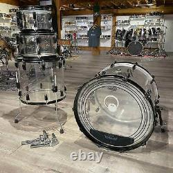 Used Pearl Crystal Beat 4pc Drum Set Ultra Clear with Black Powder Coated Hardwa