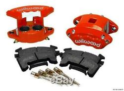 WILWOOD D154 BRAKE CALIPER & PAD SET WithPINS, FRONT 2 PISTON 1.04 RED METRIC GM