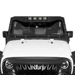 Windshield Frame Cover Visor Cowl Armor Set with Light fit Jeep Wrangler JK 07-18